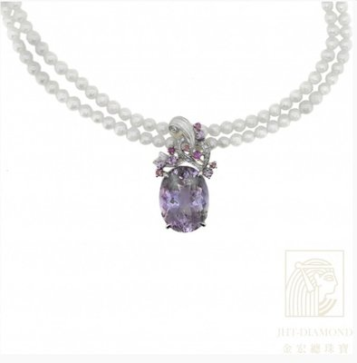 【JHT金宏總珠寶/GIA鑽石專賣】18.42ct天然紫水晶鑽石珍珠項鍊/材質:18K(JB42-A30)