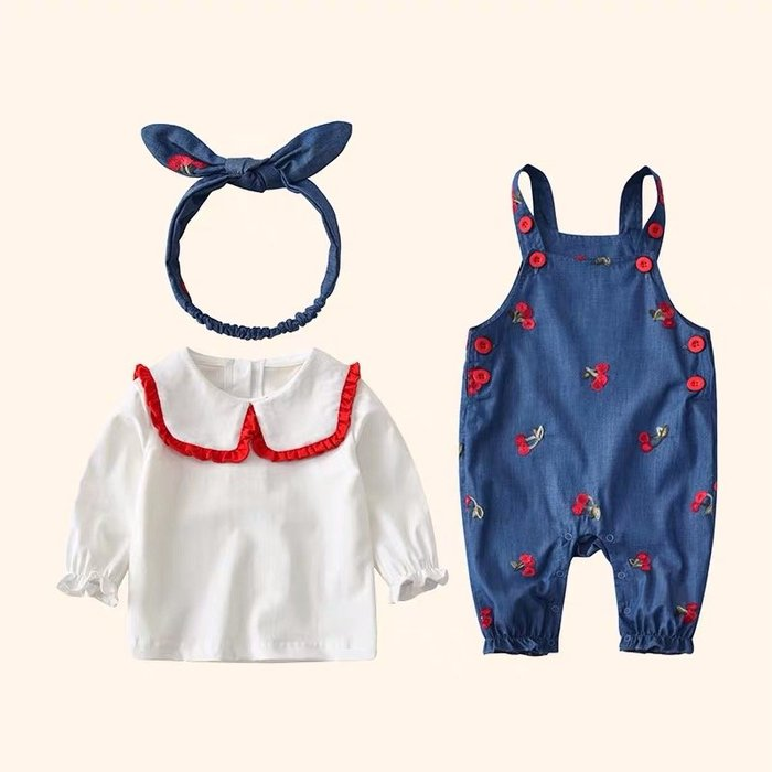 2019春夏款女寶寶嬰小櫻桃牛仔吊帶褲上衣髮帶三件套套裝@KK.KIDS