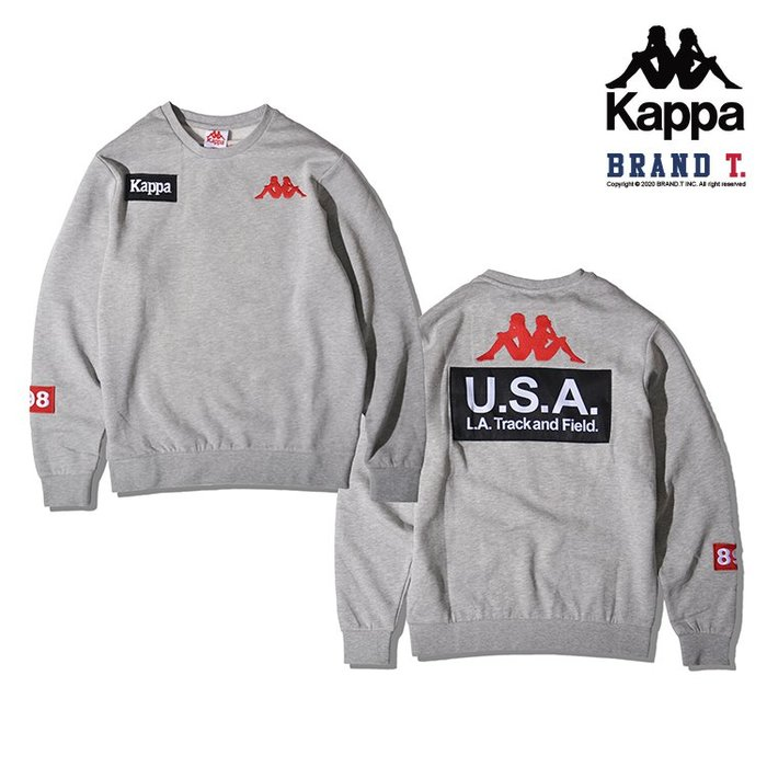 【Brand T】KAPPA AUTHENTIC LA BAZYA CREW 灰色*USA*刺繡*LOGO*大學T*衛衣