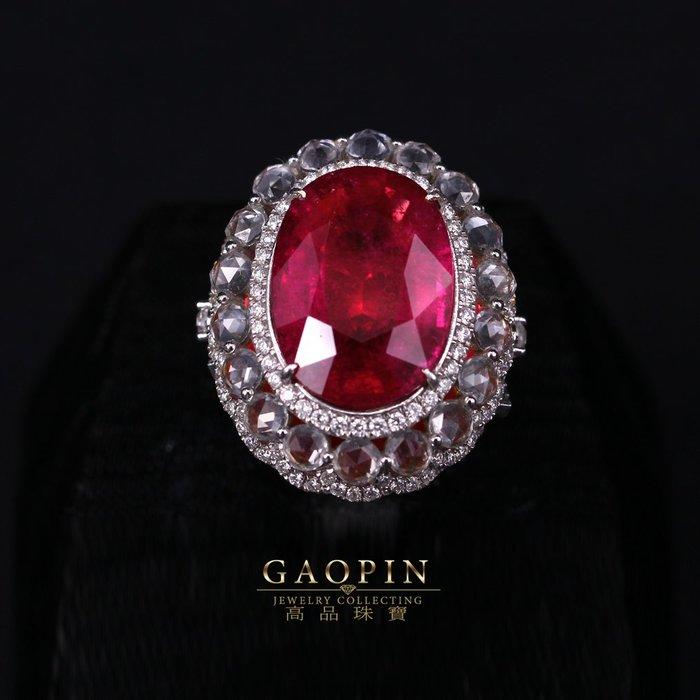【高品珠寶】天然紅寶石14克拉碧璽戒指 #1001