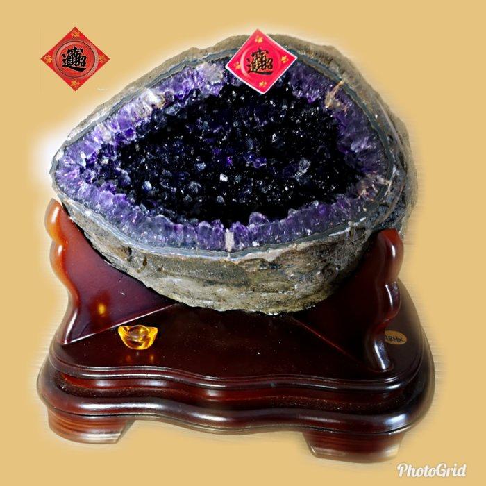 ?【168 精品】?烏拉圭Esp 收藏級紫水晶洞-原皮、重12.5kg、寬-26cm、高-26cm、洞深-13cm
