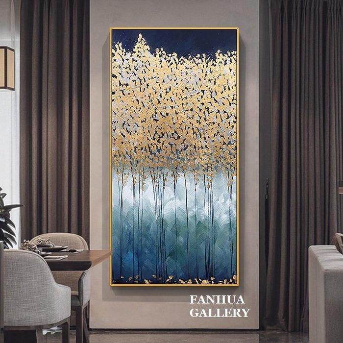C - R - A - Z - Y - T - O - W - N 純手繪油畫立體筆觸招財樹金箔樹現代簡約抽象輕奢金色裝飾畫玄關巨幅抽象油畫長款抽象藝術手繪油畫