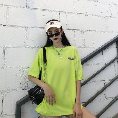 夏季韓版原宿網格愛心笑臉印花男女百搭寬松情侶裝 短袖T恤學生女