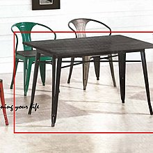 【DYL】工業風4尺榆木鐵腳餐桌(高雄市區免運費)E系列119S