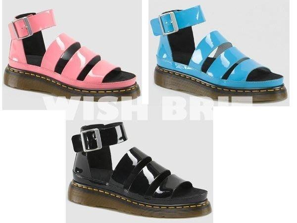 【~希望~完美馬汀】Dr. Martens Clarissa 涼鞋 ~七天鑑賞免運~  漆皮 黑/水藍/粉紅 羅馬 女鞋