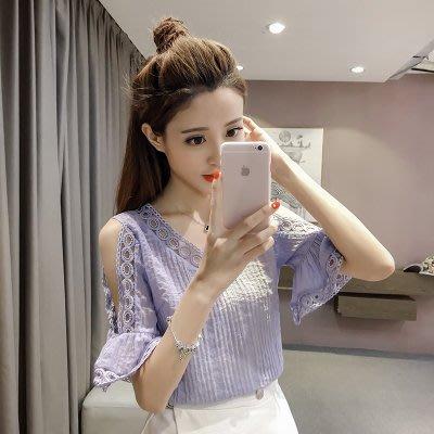 韓版V領蕾絲鏤空拼接露肩喇叭袖上衣2色(S~XL)