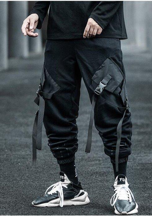 FINDSENSE X 男士  工裝褲男秋季薄款寬松嘻哈潮牌機能風束腳褲