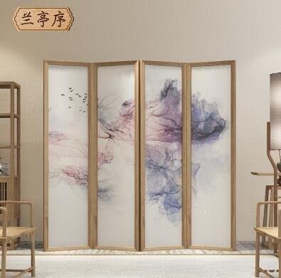 日和生活館 屏風屏風折疊隔斷客廳簡約現代玄關臥室歐式實木布藝行動中式雙面折屏S686