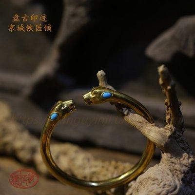 純金黃金足金雙頭豹子 豹頭 開口手鐲手環獨家定制,具體價格咨詢賣家【GL】