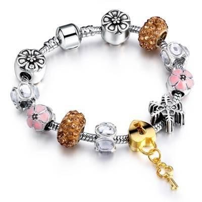 手鍊 串珠手環-時尚歐美風精緻鑰匙吊墜女配件73bp32[獨家進口][巴黎精品]