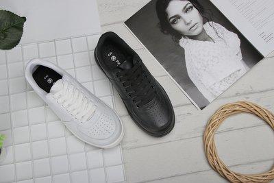 富發牌。女鞋。1CV22 極簡感素色中性休閒鞋 學生鞋 (白/黑)(23-25.5號)~nanakids娜娜童櫥