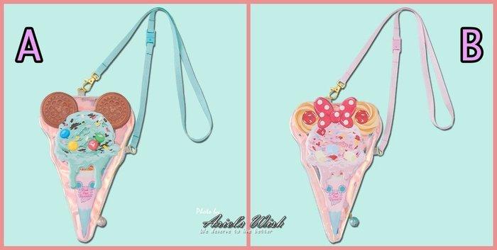 ArielWish預購-日本東京迪士尼2019夏季慶典園遊會夏天海灘度假花火節戲水節霜淇淋冰淇淋零錢包斜背包側背包-兩款