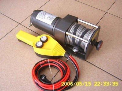 1 TIG 12VDC,3000LBS直流吊車/車用吊車//鋼索式/雪鍊/絞盤機/ 遙控式