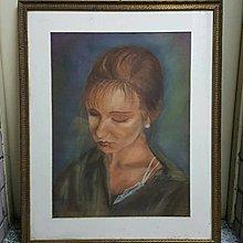 【藏家釋出】 早期收藏 ◎ 早期粉彩畫《沉思的女人》實木質畫框...