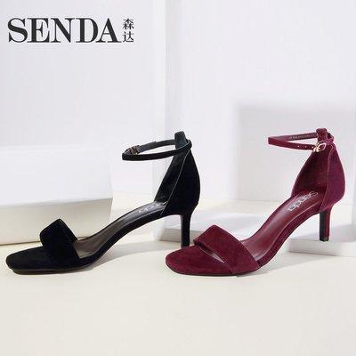 涼鞋森達夏季專柜同款優雅高跟小貓跟一字帶女涼鞋ZWP-2BL9拖鞋