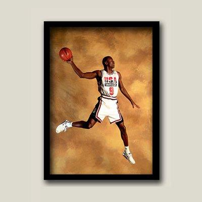X|設|計 Michael Jordan麥可喬丹裝飾畫NBA籃球明星傳奇人物掛畫有框畫臥室收藏畫樣品屋掛畫空間設計壁畫