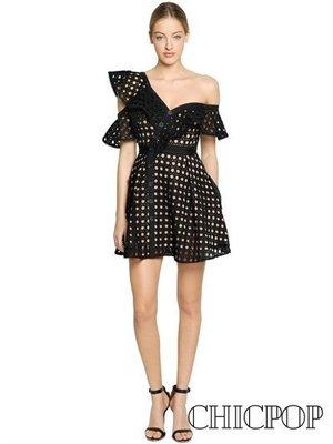 【Chicpop】SELF PORTRAIT Guipure Frill 蕾絲露肩 連身裙 洋裝 17秋冬新款 黑色款