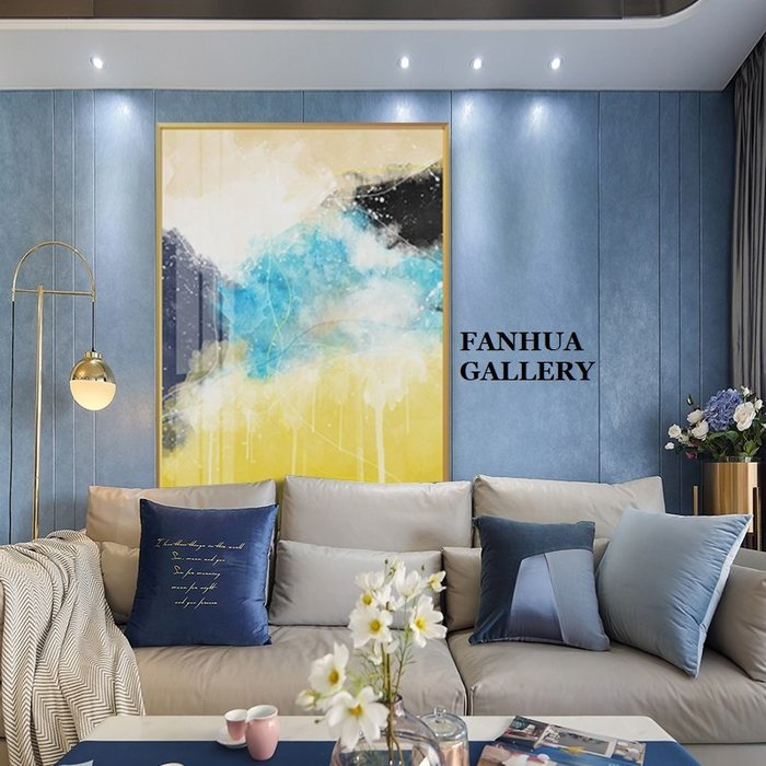 C - R - A - Z - Y - T - O - W - N 黃藍白抽象裝飾畫玄關走廊餐廳掛畫辦公室大尺寸藝術畫