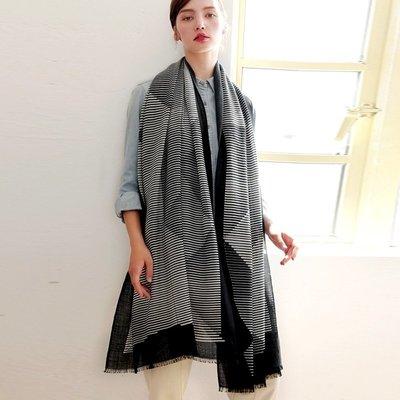 羊毛披肩 長 圍巾-復古黑白條紋毛邊女配件73wq29[獨家進口][米蘭精品]