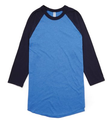American Apparel 美國正品 美國製 藍色 雙色七分袖棒球T 上衣