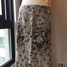 《寶兒花園》0918復古灰藍色玫瑰印花側邊拉鍊扣環典雅及膝裙
