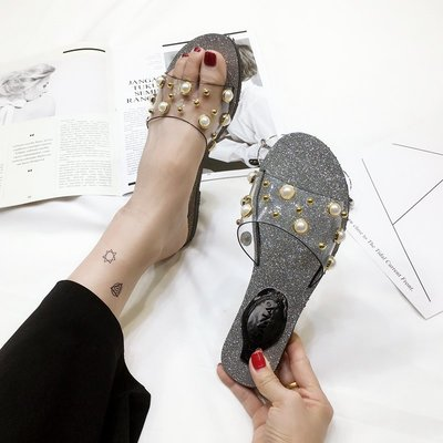 韓版時尚氣質珍珠透明拖鞋女夏季外穿平跟涼拖百搭露趾一字拖平底