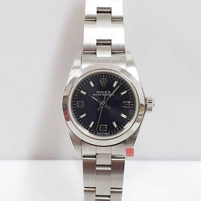 ROLEX勞力士 76080 原廠證書盒裝 錶徑25mm不含龍頭 自動機械 黑色面盤 不銹鋼材質 大眾當舖 編號9587