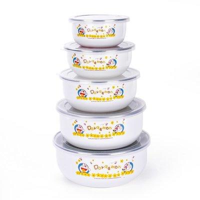 正品潮流機器貓哆啦A夢五入冰碗搪瓷碗帶蓋碗套碗保鮮碗盒菜碗5件套飯碗