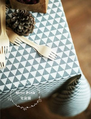 Mini Pink 宅貨舖--北歐宜家風 幾何三角-灰色 棉麻桌巾 多種規格 可客製【A504-2】訂製款