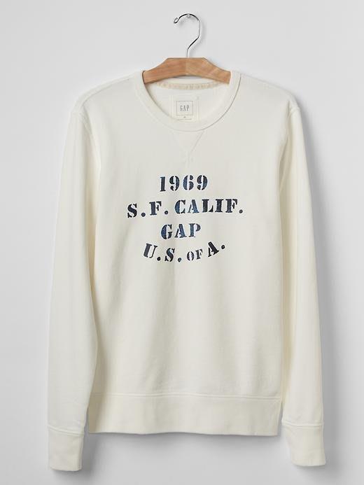 【天普小棧】GAP Stencil logo crew sweatshirt厚棉運動衫長袖T恤大學T M/L號