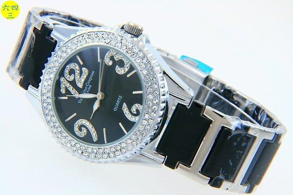 (六四三精品)Valentino coupeau(真品)圓型外框晶鑽陶瓷精準男錶(附保証卡)黑面