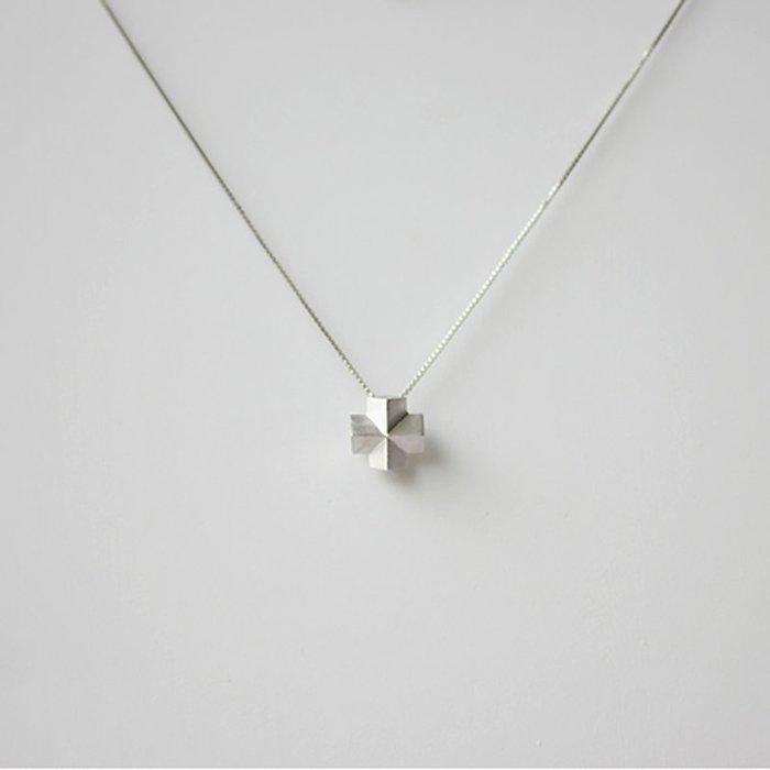 [U'NIDO] 原創手作 都會幾何3D立體十字項鍊 - 925純銀/ 18K金/ 中性設計/ 簡約優雅/ 暖心禮物