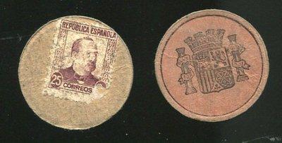 【圓形鈔】SPAIN (西班牙), P96i , 25-CENT , ND(1938) ,品相普下VG #190957