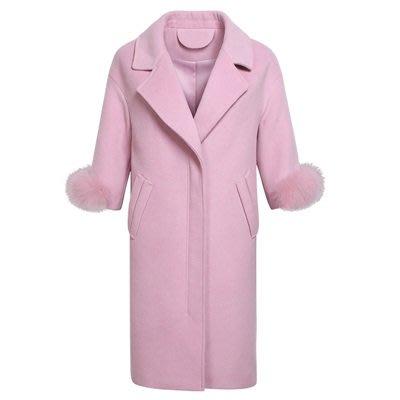毛呢 外套 長版大衣-翻領狐狸毛裝飾袖口純色女外套2色73ui16[獨家進口][米蘭精品]