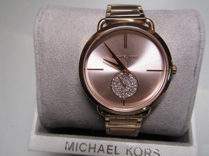 Michael Kors手錶 玫瑰金晶鑽 小秒針  不銹鋼錶帶腕錶/女錶/36mm  專櫃正品