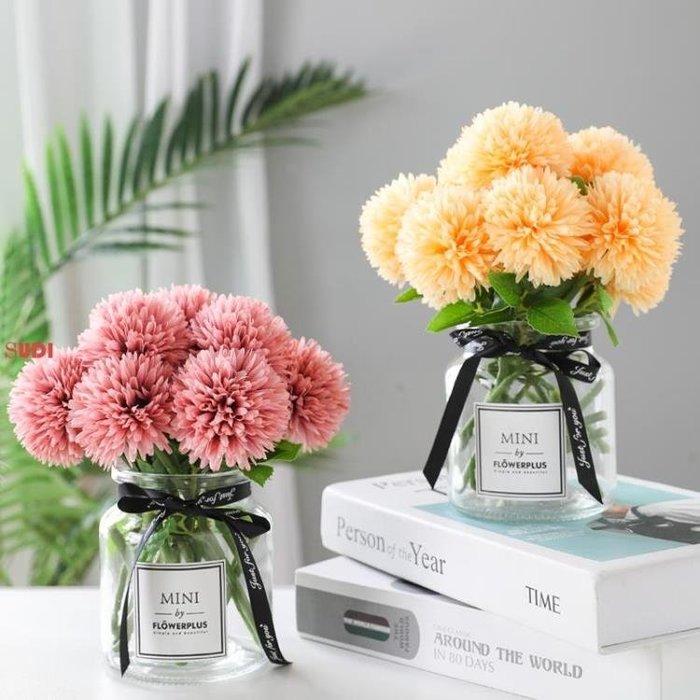 假花 花藝 仿真繡球花 玫瑰花束 花瓶裝飾 假花 花藝擺件 擺設「稻菏館」