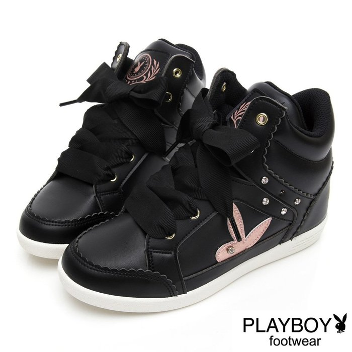 PLAYBOY 花邊兔兔內增高休閒鞋-黑色-BIKU/B酷