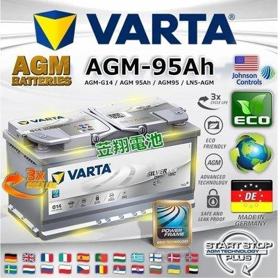 ~鋐瑞電池~德國華達電池 VARTA G14 95AH AGM 深循環汽車電瓶 START~STOP 啟停系統 X5