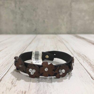 Maple麋鹿小舖 abercrombie&fitch * a&f  花朵水鑽皮質手環 * ( 現貨 )