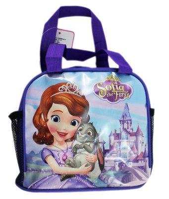 【卡漫迷】 蘇菲亞 便當袋 紫 抱兔子 ㊣版 手提袋 拉鍊式 餐袋 迪士尼 小公主 Sofia 兔子Clover 水壺
