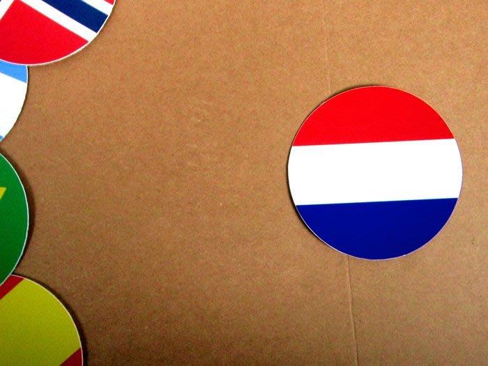 【衝浪小胖】荷蘭國旗圓形登機箱貼紙/抗UV防水/Netherlands/世界多國款可客製