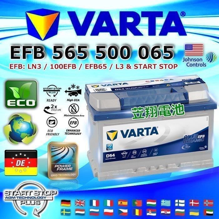 【鋐瑞電池】VARTA D54 EFB 65AH LN3 德國進口 華達 汽車電池 FOCUS KUGA 福特 原廠電瓶