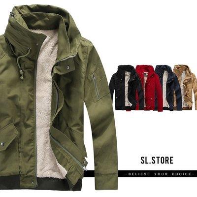 SL Store【SC8212】保暖太空領鋪毛內裡立領軍裝外套.5色/L/XL/2XL/3XL/4XL