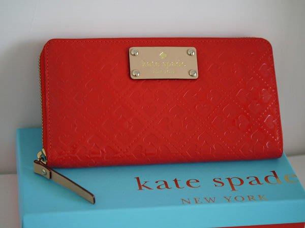笑笑專屬® Kate Spade EMERALD AVENUE NEDA 紅色桃心拼盤圖案拉鍊錢包 錢夾 皮夾 現貨!