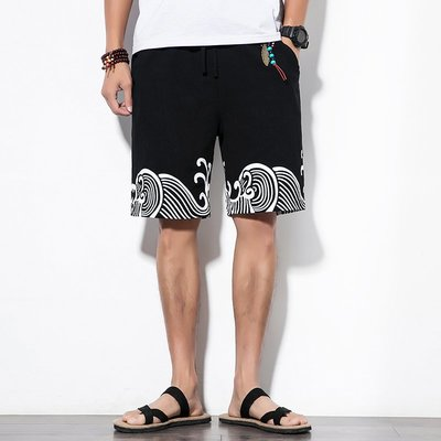中國風男士夏季大碼棉麻休閒沙灘短褲民族復古五分褲男褲子