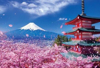 日本進口拼圖專賣店_1000片 風景 富士櫻花飛舞的淺間神社 日本山梨 M81-588