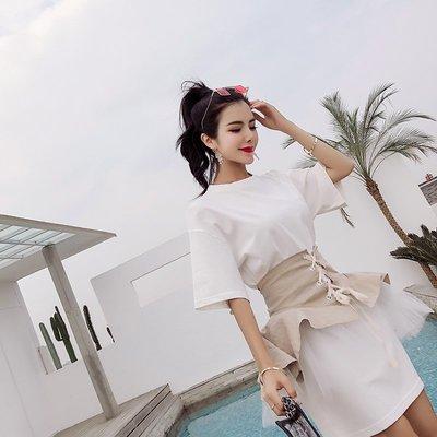 日韓性感女裝 短袖洋裝 女短褲 連體褲 短袖套裝 短袖上衣2018韓版夏季新款時尚荷葉邊網紗綁帶腰封純色t恤裙兩件套連衣裙