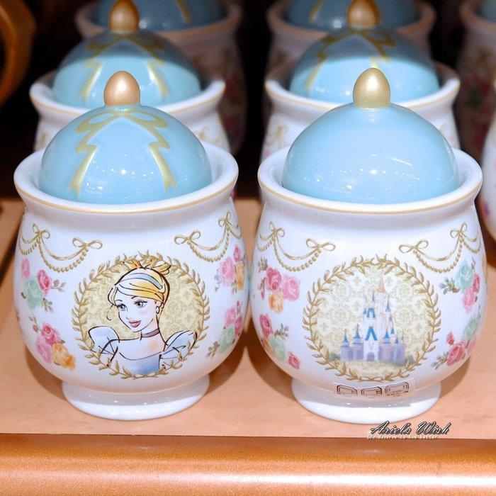 Ariel's Wish預購日本東京迪士尼三公主小美人魚愛麗兒灰姑娘仙度瑞拉長髮公主樂佩蝴蝶結陶瓷糖罐子收納糖果罐-三款