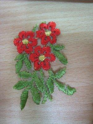 【蕾絲工坊】↙DIY手作材料↗ 刺繡蕾絲貼布貼*M05022*紅花