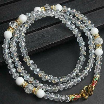 「還願佛牌」泰國佛牌鏈 串珠款 項鍊 單掛 經典 佛牌鏈子 帝王 施華洛世奇 切割 水晶 白硨磲